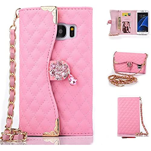 Galaxy S7 Edge Case,HYAIZLZ(TM)Galaxy S7 Edge Wallet Leather Flip Crystal Color Pendants Case for Galaxy S7 Edge With Long Chain,Pink Sales
