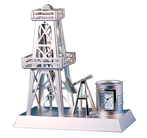 Sanis Enterprises Oil Rig Clock, 4.5 by 2.5-Inchx5-Inch, Silver