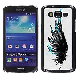 Caucho caso de Shell duro de la cubierta de accesorios de protección BY RAYDREAMMM - Samsung Galaxy Grand 2 - Plumas azules