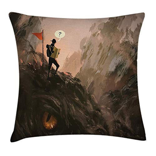 YABABY Fantasy Art House Decor Throw Pillow Cushion Cover by, Lost Hiker Looking at Map Over Beast Creature Dragon Fiction, Decorative Square Accent Pillow Case, 18 X 18 Inches, Black - Penguin Laces Hiker