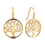 JO WISDOM Tree Earrings 925 Sterling Silver Gold Cubic Zirconia Family Tree of Life Gold Hook Dangle & Drop Earrings