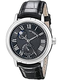 """Men's 2839-STC-00209 """"Maestro"""" Stainless Steel Automatic Watch with Black Leather Band"""