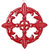 Old Dutch Fleur De Lis Trivet, 9-Inch, Red