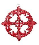 Old Dutch Fleur De Lis Trivet, 9-Inch, Red