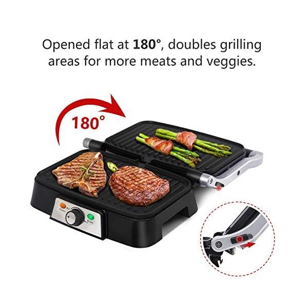 Aigostar Hitte 30HFA - Panini Maker/Griglia, Pressa a sandwich, Griglia elettrica, 1500 Watt, Fredda al tocco… 4