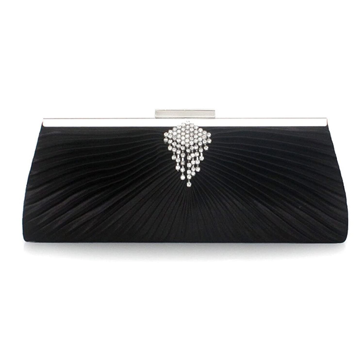 Abless Women Elegant Swirling Clinched Black Satin Fabric Fashion Party Clutch Purses