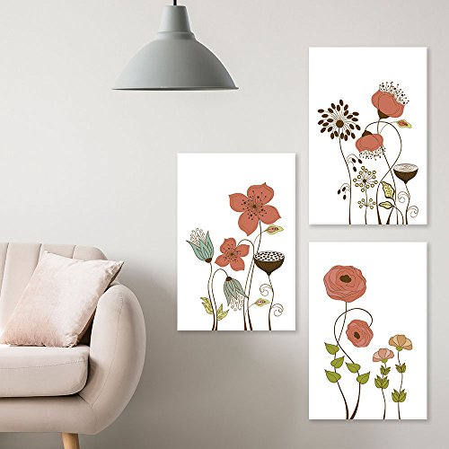 3 Panel Hand Drawing Style Flowers on White Background x 3 Panels