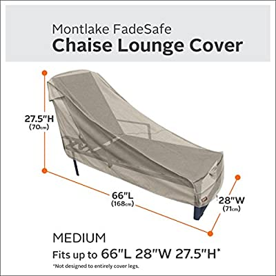 Classic Accessories Montlake Water-Resistant 66 Inch Patio Chaise Lounge Chair Cover : Garden & Outdoor