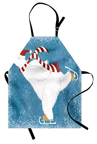 Ambesonne Bear Apron, Polar Bear with Christmas Hat and Scarf Ice Skating Ornamental Snowflakes and Swirls, Unisex Kitchen Bib Apron with Adjustable Neck for Cooking Baking Gardening, Blue White - Ice Skating Polar Bear