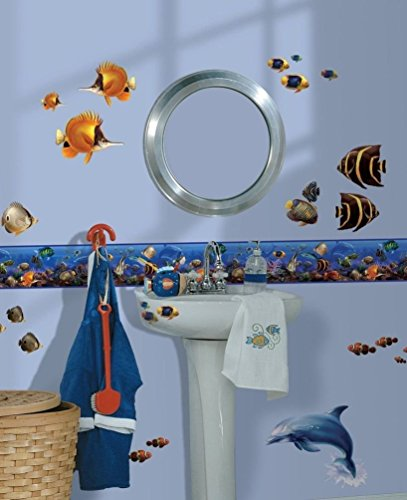 Fish Wall Border - Lunarland SEA WALL BORDER Room Wallpaper Decals Ocean Fish Dolphin Decor Bathroom