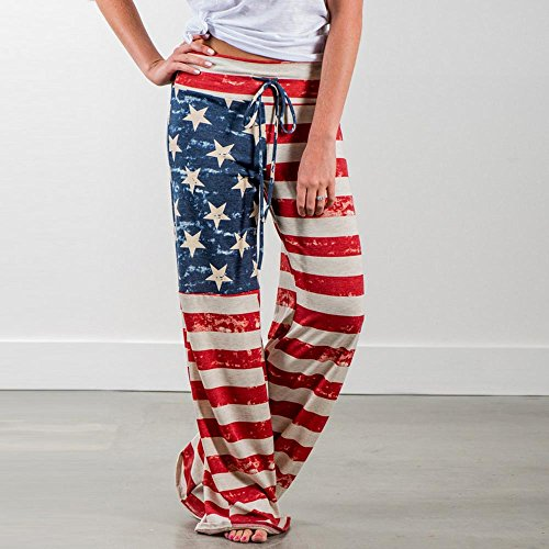 USA Flag Plus-Size Elastic Pants Spring Autumn Drawstring Trousers Women American Flag Wide Leg Pants Women's Floral Print Night Comfy Lounge Pants Independence Day