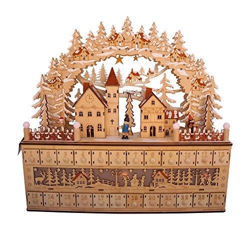 LED Lighted Wooden Bavarian Scene Advent Calendars - Christmas Decoration with 24 Storage Drawers (Bavarian Village)