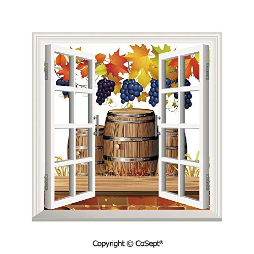 SCOXIXI Creative Window View Wall Decor,Wood Wine Barrels with Faded Golden Autumn Leaves Fall Sunlight Design,Window Stickers Have Beautiful Scenery(26.65x20 inch) (Southern Co Ct Wine)