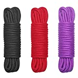 Maydahui Soft Cotton Long Rope - 32 Feet Length,1/3-Inch Diameter (Pack of 3,Red,Black,Purple)
