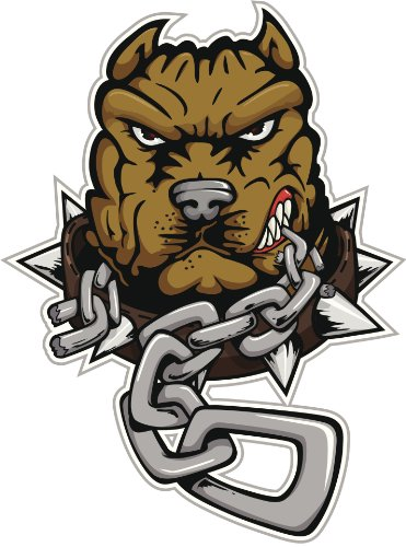 Red Pit Bull - ANGRY PIT BULL DOG BITING CHAIN BROWN RED GREY BLACK WHITE Vinyl Decal Sticker Two in One Pack (8 Inches Tall)
