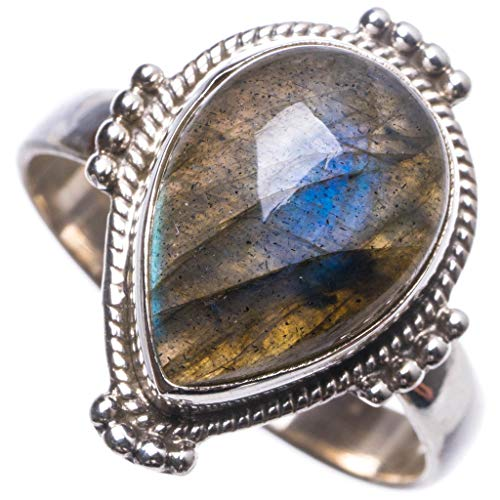 Natural Blue Fire Labradorite Handmade Unique 925 Sterling Silver Ring 8.25 -