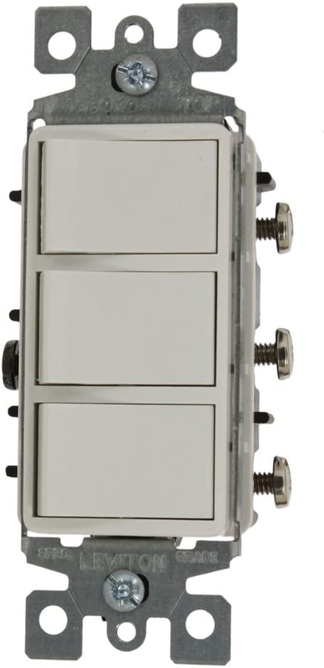 Leviton 1755-2W 15 Amp, 120 Volt, Individual Switches, Decora Three Rocker Combination Switch, Commercial Grade, with Ground Screw, White