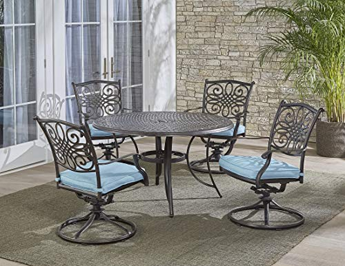 Hanover TRADDN5PCSW-BLU 5 Piece Traditions Dining Set with 4 Swivel Rockers ()