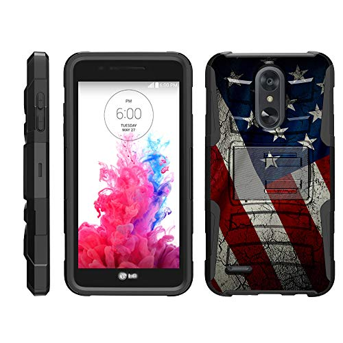 TurtleArmor | Compatible for LG Aristo 3 Case | Risio 3 | Rebel 4 | Tribute Empire [Hyper Shock] Rugged Hybrid Dual Layer Armor Holster Belt Clip Case - American Flag - Iphone 3g Holster