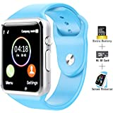 COSROLE Touch Screen Smart Watch Bluetooth V4.0 Smartwatch with Remote Camera & Padometer & Sleep Monitor Smart Wrist Watch Compatible with iPhone Android Samsung Huawei Sony for Kids Men Women - Blue