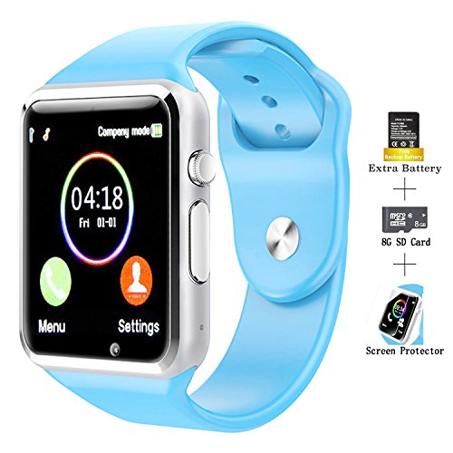 COSROLE Touch Screen Smart Watch Bluetooth V4.0 Smartwatch with Remote Camera & Padometer & Sleep Monitor Smart Wrist Watch Compatible with Android Samsung Huawei Sony for Kids Men Women - Blue