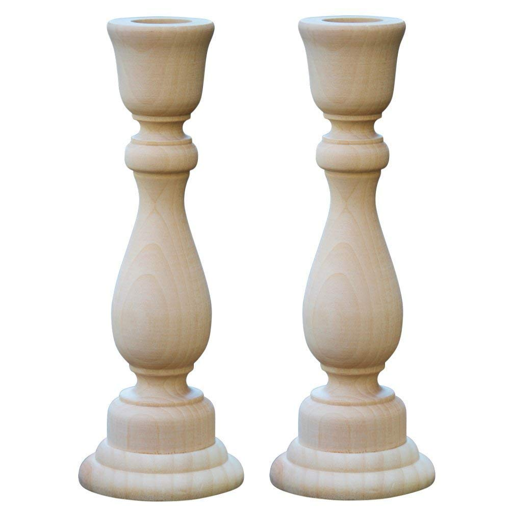 6-3/4'' Inch Unfinished Candlesticks Holders   Pack of 50 Unfinished Wood Classic Craft Candlesticks Smoothed and Ready To Easily Paint or Decorate   DIY The Way It Inspires You - By Woodpeckers®