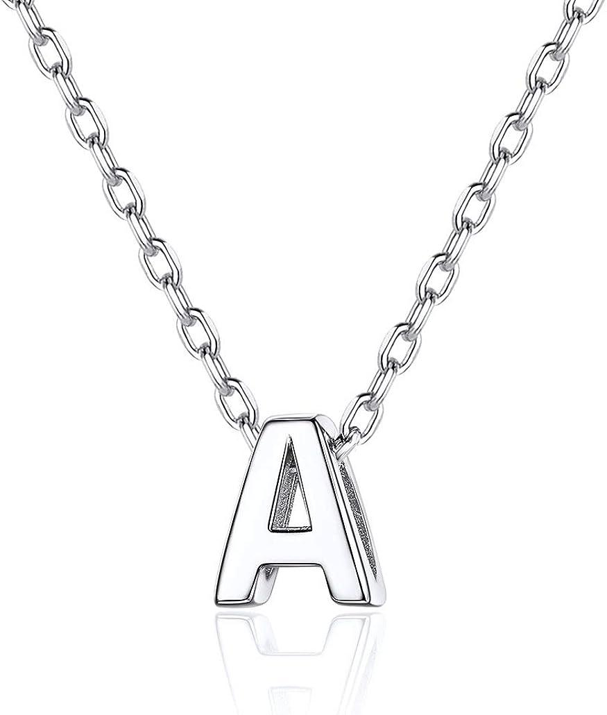 Silvora Collar Letras Pequeñas de Plata A - Z para Mujer Hombre Collares y Colgantes Iniciales Plata de Ley 925 con Caja de Regalo