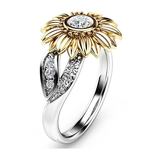YOUNICE Women Two Tone Silver Floral Ring Diamond Gold Sunflower Jewelry Mother Gift by YOUNICE
