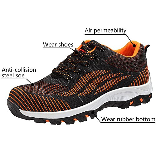 Orange Safety Bright Optimal Shoes Toe Work Steel Shoes Men's Shoes z8nw58Pq