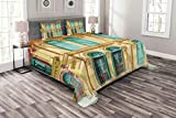 Lunarable Shutters Bedspread Set Queen Size, Window and Door Colorful Cultural Design Architecture Wooden House Sunny Day, Decorative Quilted 3 Piece Coverlet Set with 2 Pillow Shams, Beige Turquoise