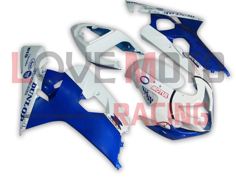 LoveMoto ブルー/イエローフェアリング スズキ suzuki GSX-R600 GSX-R750 K4 2004 2005 04 05 GSXR 600 750 ABS射出成型プラスチックオートバイフェアリングセットのキット ブルー ホワイト   B07KF7P9HW