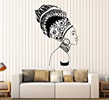 Vinyl Wall Decal Beautiful Black Girl Ethnic Africa African Woman Stickers Large Decor (701ig) Matte Black