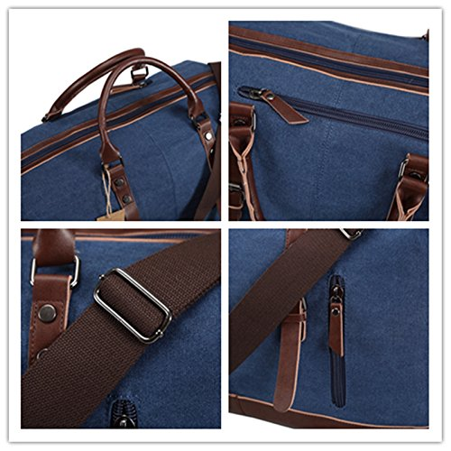 Ulgoo Travel Duffel Bag Canvas Bag PU Leather Weekend Bag Overnight (Deep Blue) by Ulgoo (Image #6)