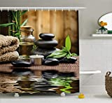 Ambesonne Spa Decor Shower Curtain, Asian Zen Massage Stone Triplets with Herbal Oil