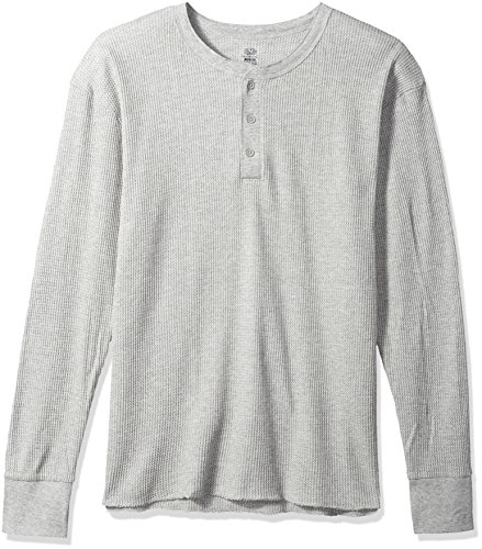 Fruit of the Loom Men's Classic Midweight Waffle Thermal Henley Top, Light Grey Heather, - Henley Waffle