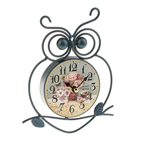 MagiDeal Retro Owl Wall Clock Desk Clock Home Art Decoration 7inch Dia Blue/White/Yellow - - Owl Clock Shaped