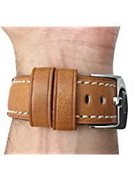 Genuine Italian Leather Watch Strap Band, 24mm, Tan, Double Stitching