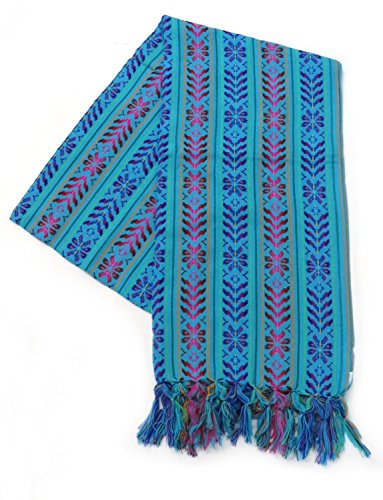 - XL 9 ft Long Doula Mexican Rebozo Shawl (Doula Aqua w/Design)