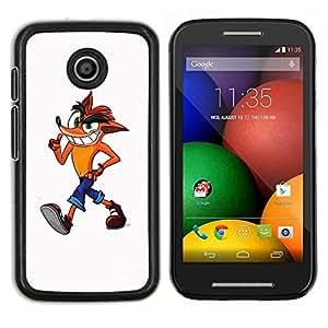 Caucho caso de Shell duro de la cubierta de accesorios de protección BY RAYDREAMMM - Motorola Moto E - Fox personaje de dibujos animados para niños Dibujo Arte