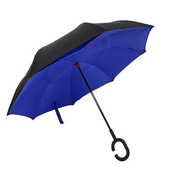 Paraguas Invertido de Doble Capa, Un Paraguas Creativo Ideal Para Viajes y Coches (Azul