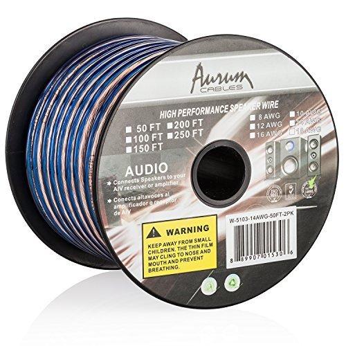 Aurum Cables 12 Gauge Dual Color Transparent PVC Speaker Zip Wire l Blue and Regular Transparent I w/ ft markings every 5 ft - 200 feet