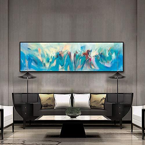 100x400cm Burgundy QIAISHI Abstrait Ombrage Aquarelle bleush Huile sur Toile Peinture Couleuré Photos Mur Affiche Affiche Décor à La Maison