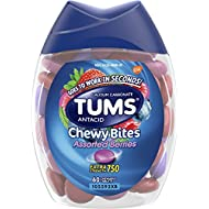 TUMS Chewy Bites Assorted Berries Antacid Hard Shell Chews for Heartburn Relief, 60 count