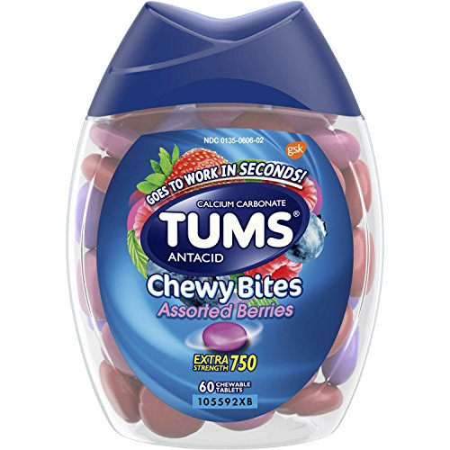 (TUMS Chewy Bites Assorted Berries Antacid Hard Shell Chews for Heartburn Relief, 60 count)