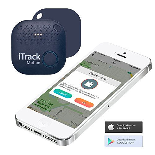 iTrack Motion Key Finder Bluetooth, Smart Wireless Phone Finders Location Tracker Device For Phone, Kids, Keychain, Wallet, Bags, Purse, Luggage, Pets (2018 New Designed) - Dark Blue by iTrack Motion