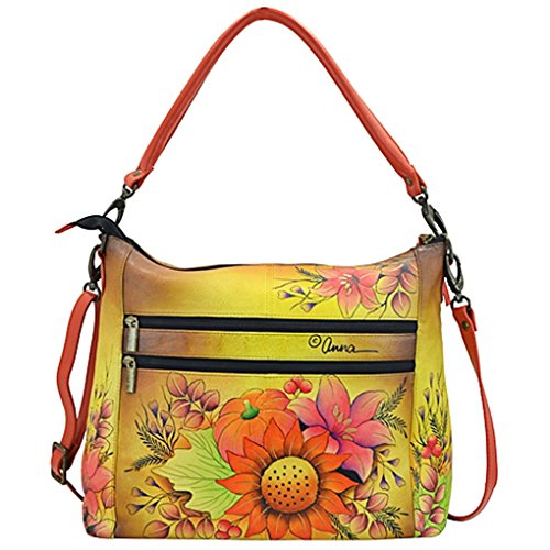 Design Purse Bouquet Anna Handbag Hobo Anuschka 2 on Holder Floral with Hand Purse Real Leather Painted Convertible Zip qzT1AAXxw