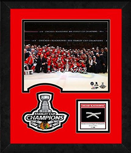 Glass Logo Under Team (Chicago Blackhawks 2015 Stanley Cup Limited Edition Team Photo w/Net (Size: 15.5