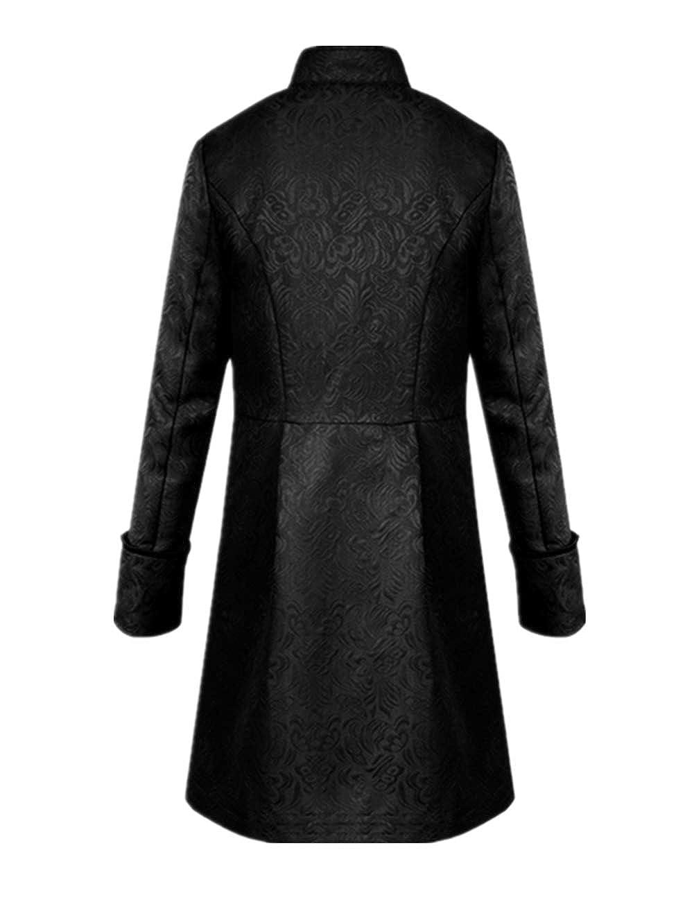 Tinyones Mens Steampunk Vintage Tailcoat Jacket Gothic Victorian Frock Coat Uniform Halloween Costume