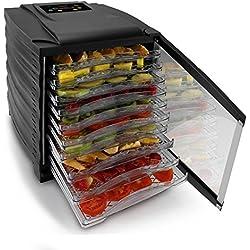 NutriChef Food Dehydrator | Multi Tier Shelf | Food Preservation System | Beef Jerky Maker | Fruits, Vegetables | Survival Foods W Long Shelf Life | Stain Resistant | 10 Slide Out Dryer Trays - 120V