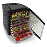 NutriChef Food Dehydrator | Multi Tier Shelf | Food Preservation System | Beef Jerky Maker | Fruits, Vegetables | Survival Foods W Long Shelf Life | Stain Resistant | 10 Slide Out Dryer Trays - 120V